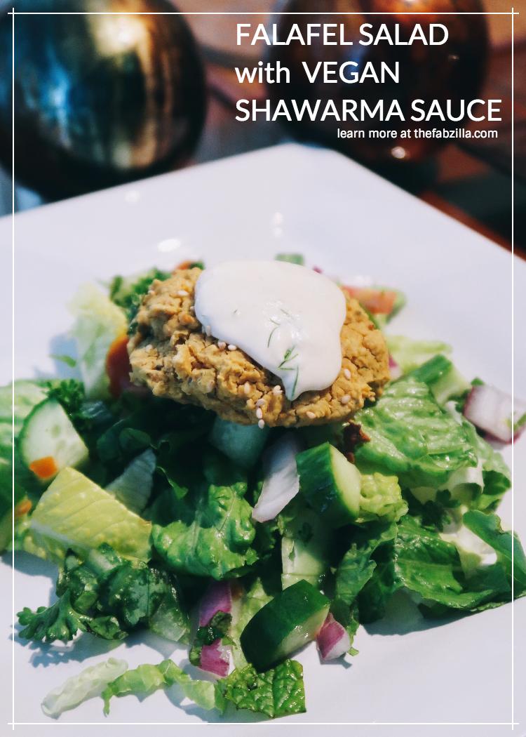Falafel Salad With Vegan Shawarma Sauce Recipe