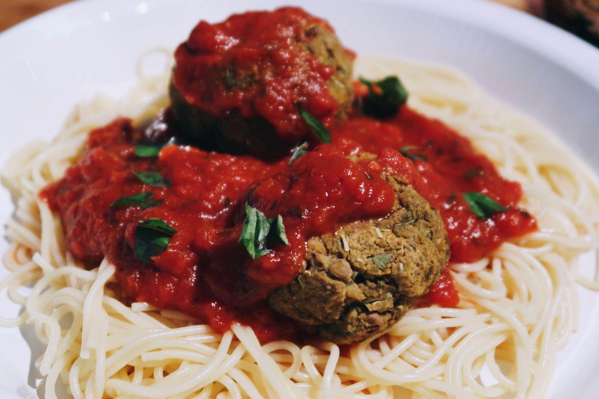 Spaghetti with Lentil Quinoa Balls