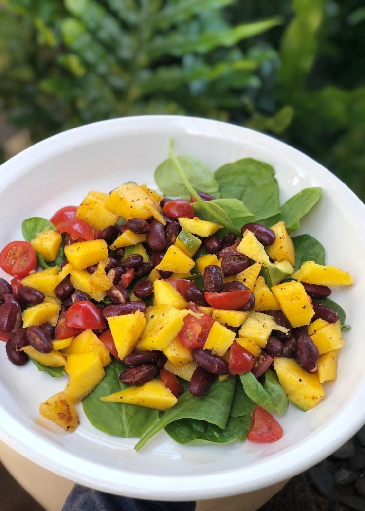 Thefabzilla Hawaii Vegan Food Blogger shares quick and refreshing mango bean salad recipe